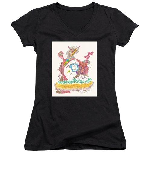 Vedauwoo Shaman Women's V-Neck T-Shirt (Junior Cut) by Mark David Gerson
