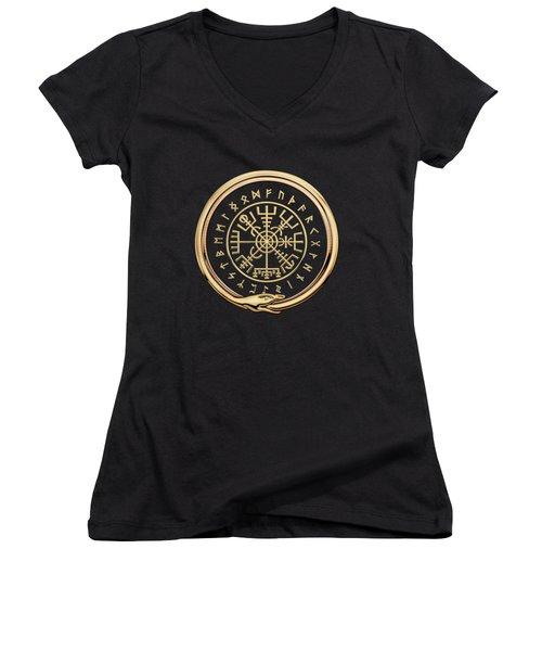 Vegvisir - A Magic Icelandic Viking Runic Compass - Gold On Black Women's V-Neck (Athletic Fit)
