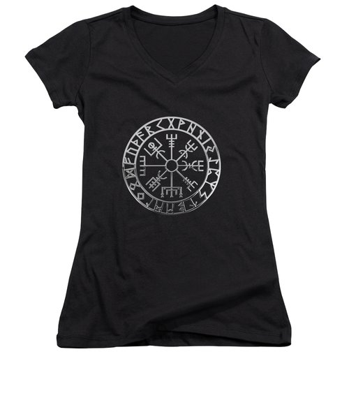 Vegvisir - A Magic Icelandic Viking Runic Compass - Silver On Black Women's V-Neck T-Shirt