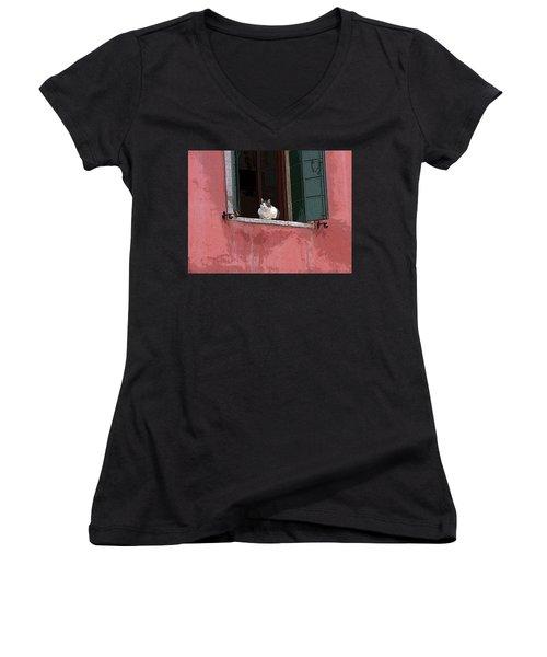 Venetian Cat In Window Women's V-Neck T-Shirt