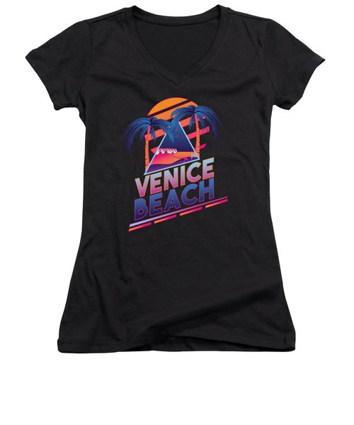 Venice Beach 80's Style Women's V-Neck T-Shirt (Junior Cut) by Alek Cummings