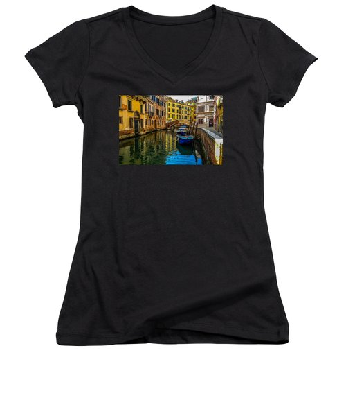 Venice Canal In Italy Women's V-Neck T-Shirt