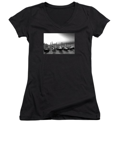 Women's V-Neck T-Shirt (Junior Cut) featuring the photograph Venice Gondolas Black And White by Rebecca Margraf