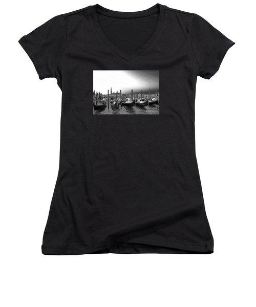 Venice Gondolas Black And White Women's V-Neck T-Shirt