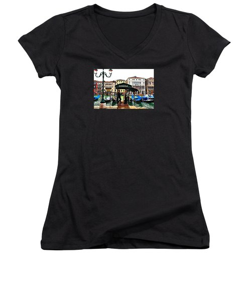 Women's V-Neck T-Shirt (Junior Cut) featuring the photograph Venice - Off Season by Laura Ragland
