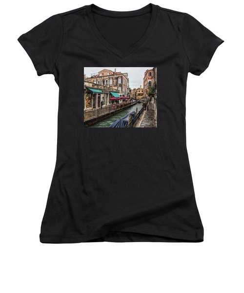Women's V-Neck T-Shirt (Junior Cut) featuring the photograph Venice 'streets' by Shirley Mangini