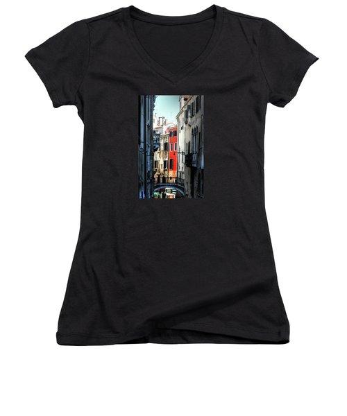 Women's V-Neck T-Shirt (Junior Cut) featuring the photograph Venice Xx by Tom Prendergast