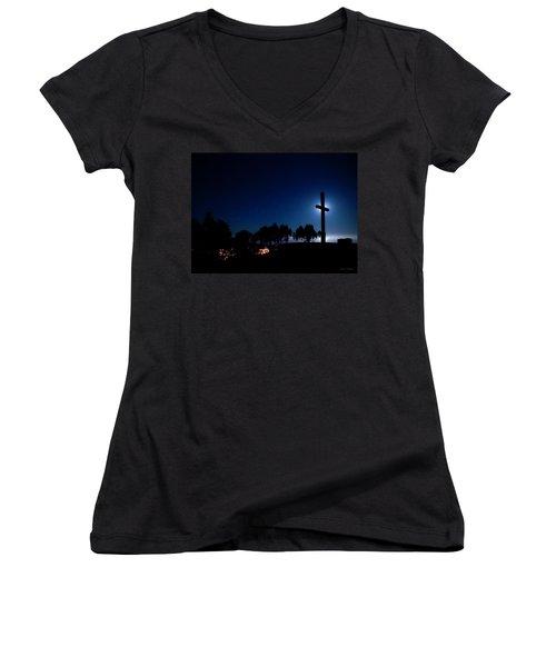 Ventura Ca Cross At Moonset Women's V-Neck T-Shirt