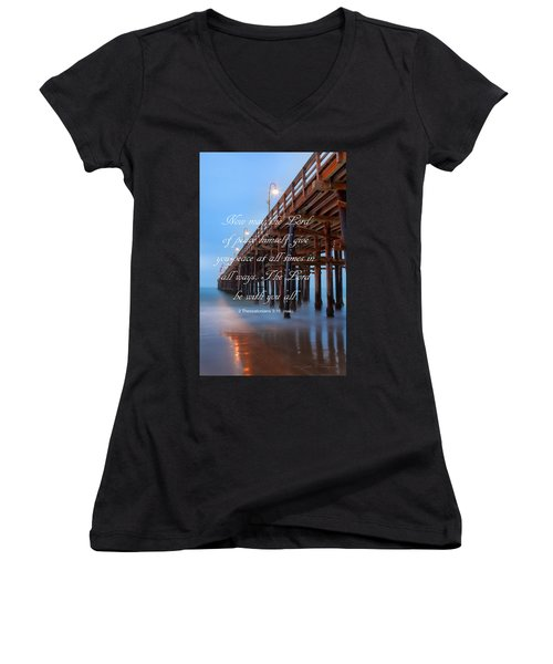 Women's V-Neck T-Shirt (Junior Cut) featuring the photograph Ventura Ca Pier With Bible Verse by John A Rodriguez