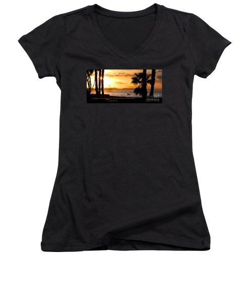 Women's V-Neck T-Shirt (Junior Cut) featuring the photograph Ventura California Sunrise With Bible Verse by John A Rodriguez