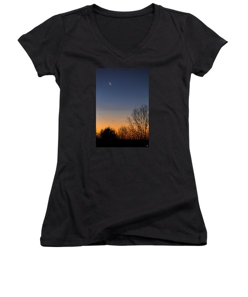 Venus, Mercury And The Moon Women's V-Neck (Athletic Fit)