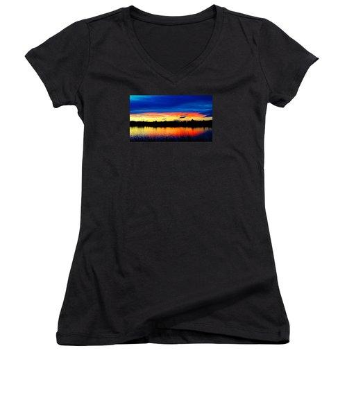 Vermillion Sunset Women's V-Neck T-Shirt (Junior Cut) by Eric Dee