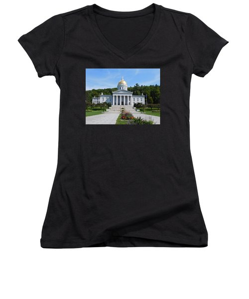 Vermont State House Women's V-Neck T-Shirt (Junior Cut) by Catherine Gagne