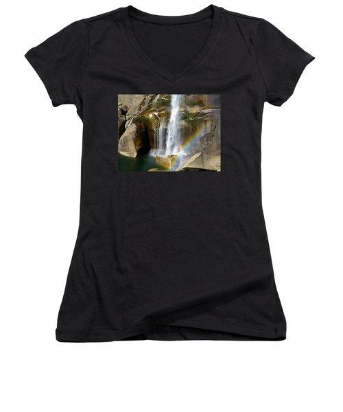 Vernal Falls Mist Trail Women's V-Neck T-Shirt (Junior Cut) by Amelia Racca