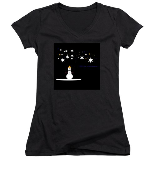 Women's V-Neck T-Shirt (Junior Cut) featuring the digital art Very Simple by Cathy Harper