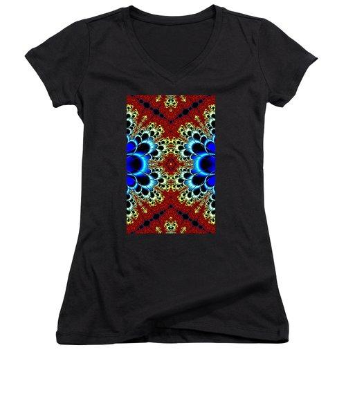 Vibrancy Fractal Cell Phone Case Women's V-Neck T-Shirt (Junior Cut) by Lea Wiggins