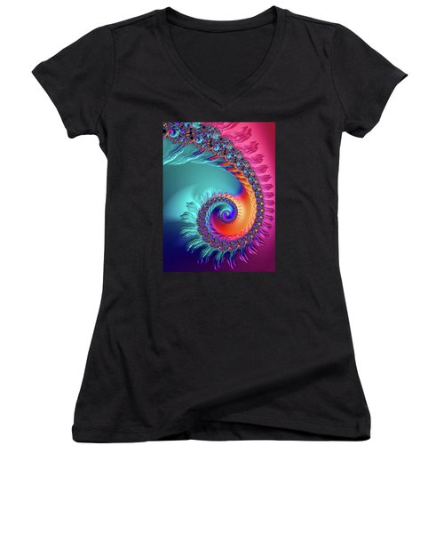 Vibrant And Colorful Fractal Spiral  Women's V-Neck (Athletic Fit)