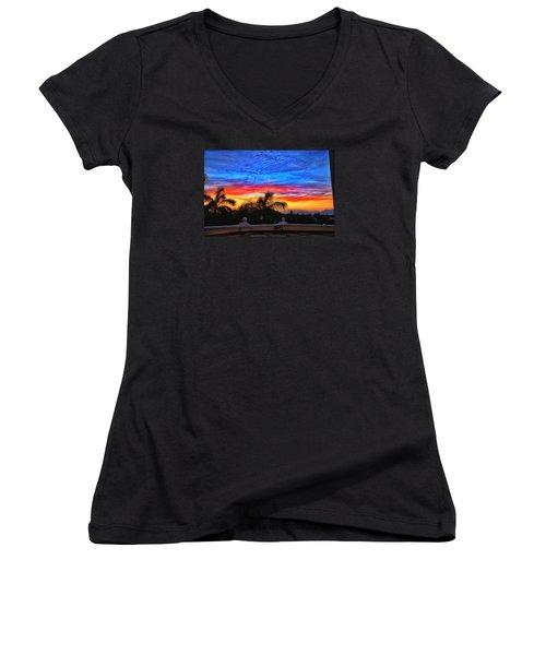 Vibrant Sunset In Mexico Women's V-Neck T-Shirt (Junior Cut) by Nikki McInnes