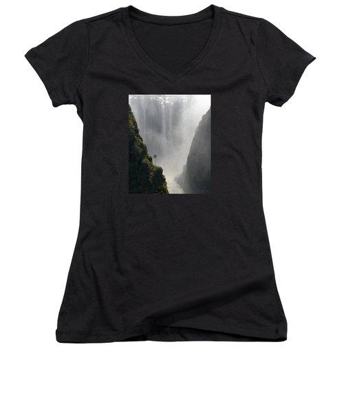 Victoria Falls No. 2 Women's V-Neck T-Shirt (Junior Cut) by Joe Bonita