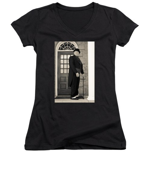 Victorian Dandy Women's V-Neck T-Shirt (Junior Cut) by Fran Riley