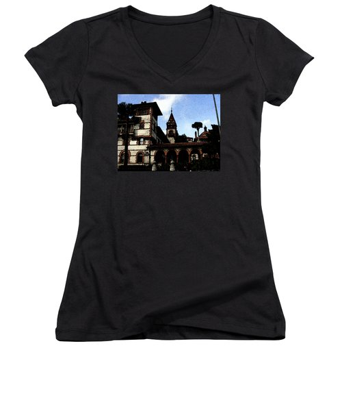 Victorian Era Hotel Women's V-Neck T-Shirt (Junior Cut) by Shirley Heyn