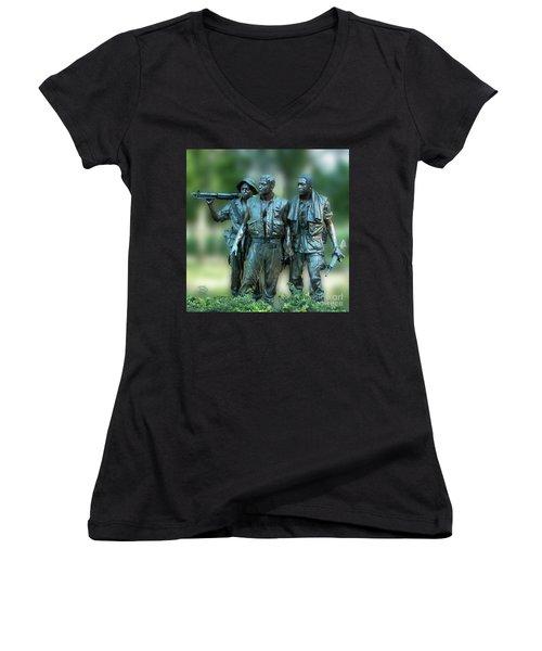 Vietnam Memorial Soldiers Women's V-Neck (Athletic Fit)