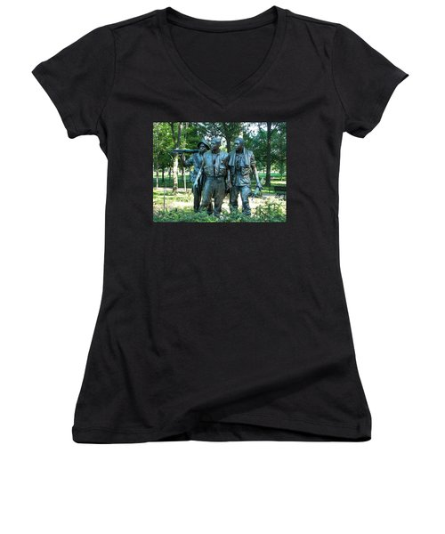 Vietnam War Memorial Statue Women's V-Neck (Athletic Fit)