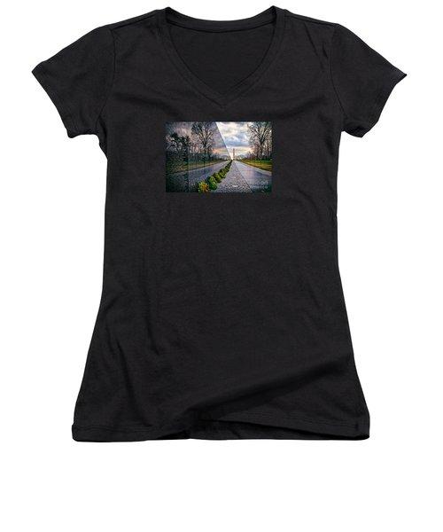 Vietnam War Memorial, Washington, Dc, Usa Women's V-Neck T-Shirt (Junior Cut) by Sam Antonio Photography