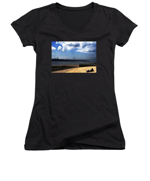 View From Across The Tagus Women's V-Neck T-Shirt (Junior Cut) by Lorraine Devon Wilke