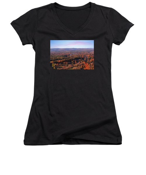View From Mount Tom In Easthampton, Ma Women's V-Neck