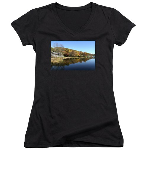 Women's V-Neck T-Shirt (Junior Cut) featuring the photograph View Of Peaks Of Otter Lodge And Abbott Lake  In Autumn by Emanuel Tanjala