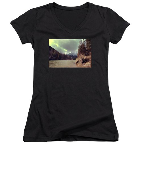 View On The Blackfoot River Women's V-Neck T-Shirt (Junior Cut) by Janie Johnson