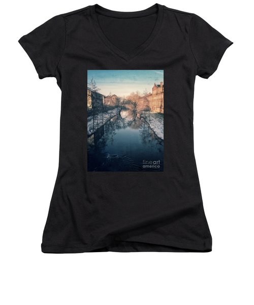 View Onto The River  Women's V-Neck T-Shirt