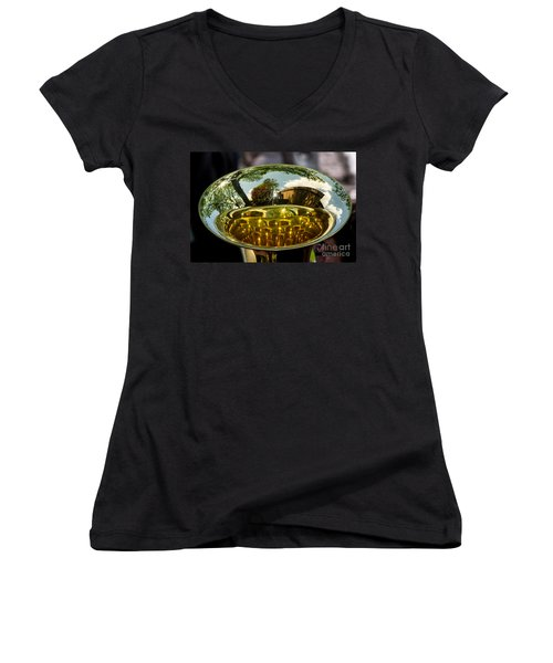 View Through A Sousaphone Women's V-Neck T-Shirt