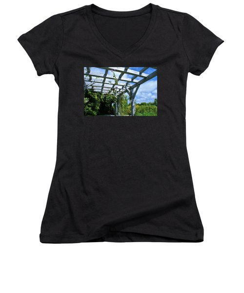 Women's V-Neck T-Shirt (Junior Cut) featuring the photograph View To The Sky by Lois Lepisto