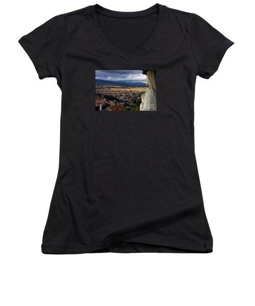 Vigil Over Cuenca From Turi Ecuador Women's V-Neck T-Shirt (Junior Cut) by Al Bourassa