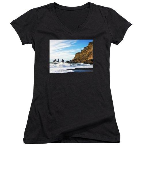 Women's V-Neck T-Shirt featuring the photograph Vik Reynisdrangar Beach And Ocean Iceland by Matthias Hauser