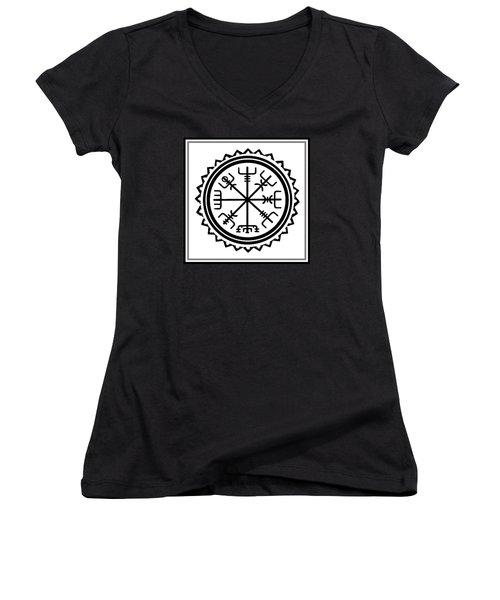 Women's V-Neck T-Shirt featuring the digital art Viking Vegvisir Protection Compass by Vagabond Folk Art - Virginia Vivier