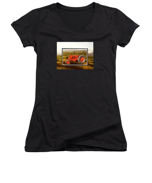 Women's V-Neck T-Shirt (Junior Cut) featuring the photograph Vintage 1948 Case Dc Tractor by Deborah Moen
