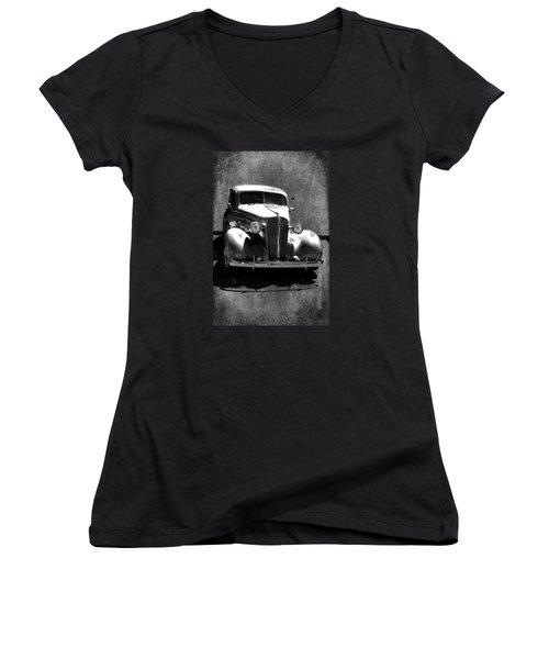Vintage Car Art 0443 Bw Women's V-Neck T-Shirt (Junior Cut) by Lesa Fine