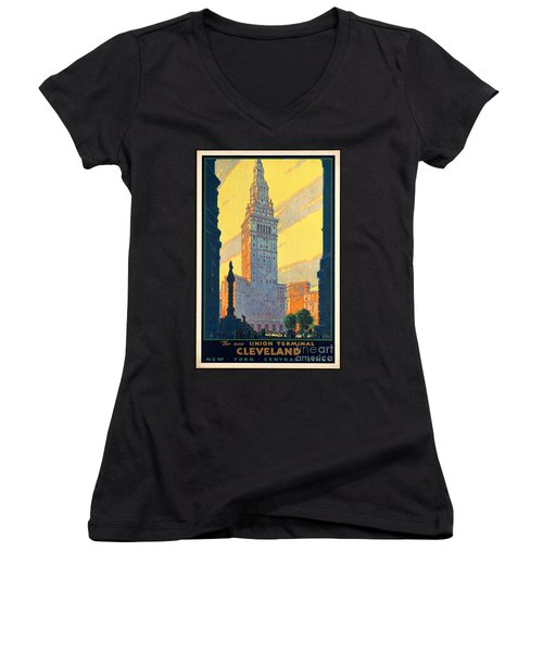 Vintage Cleveland Travel Poster Women's V-Neck T-Shirt