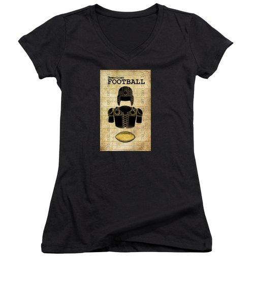 Vintage Football Print Women's V-Neck (Athletic Fit)