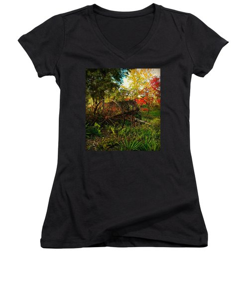 Vintage Hay Rake Women's V-Neck T-Shirt (Junior Cut) by Chris Berry