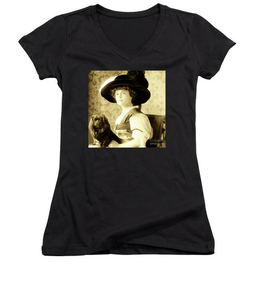 Vintage Lady With Lapdog Women's V-Neck T-Shirt (Junior Cut) by Marian Cates