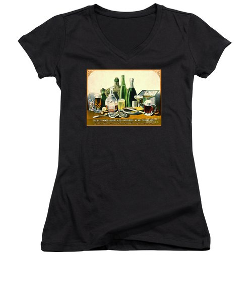 Vintage Liquor Ad 1871 Women's V-Neck T-Shirt (Junior Cut) by Padre Art