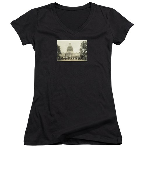 Vintage Motorcycle Police - Washington Dc  Women's V-Neck T-Shirt (Junior Cut)