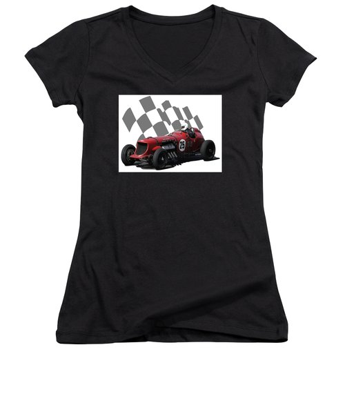 Vintage Racing Car And Flag 3 Women's V-Neck T-Shirt (Junior Cut) by John Colley
