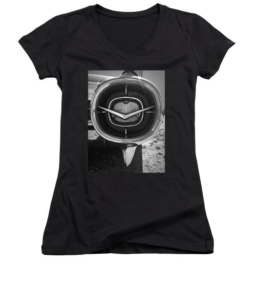 Vintage Tail Fin In Black And White Women's V-Neck T-Shirt (Junior Cut) by Kelly Hazel
