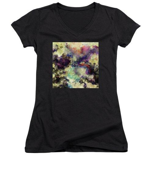 Violet Landscape Painting Women's V-Neck T-Shirt (Junior Cut) by Ayse Deniz