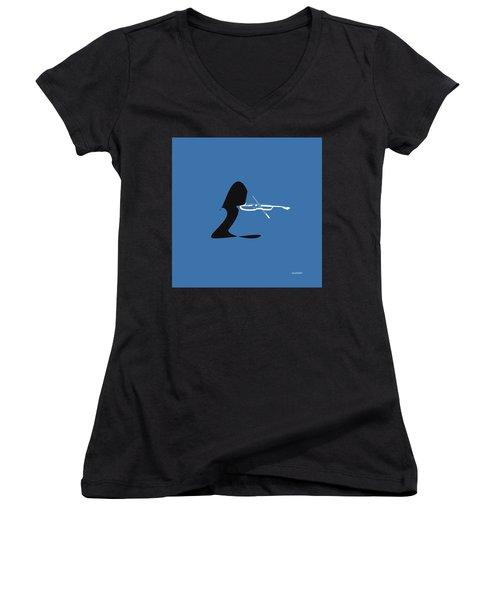 Women's V-Neck T-Shirt (Junior Cut) featuring the digital art Violin In Blue by Jazz DaBri